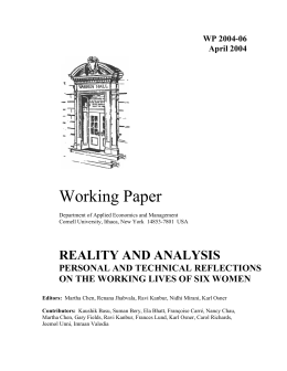 Working Paper REALITY AND ANALYSIS PERSONAL AND TECHNICAL REFLECTIONS