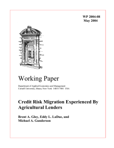 Working Paper Credit Risk Migration Experienced By Agricultural Lenders