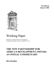 Working Paper THE NEW PARTNERSHIP FOR AFRICA'S DEVELOPMENT (NEPAD): AN INITIAL COMMENTARY
