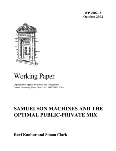 Working Paper SAMUELSON MACHINES AND THE OPTIMAL PUBLIC-PRIVATE MIX