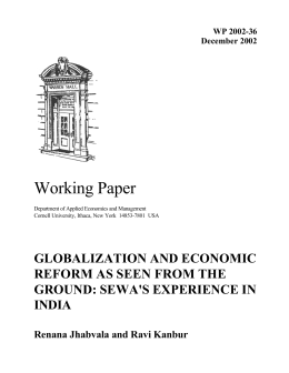 Working Paper GLOBALIZATION AND ECONOMIC REFORM AS SEEN FROM THE