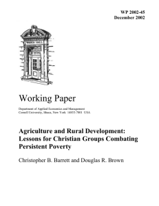 Working Paper Agriculture and Rural Development: Lessons for Christian Groups Combating Persistent Poverty