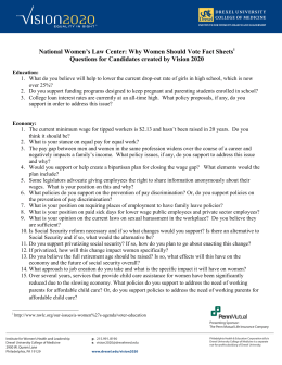 National Women's Law Center: Why Women Should Vote Fact Sheets