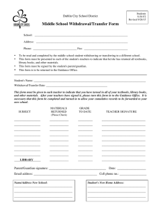 Middle School Withdrawal/Transfer Form Dublin City School District