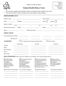 Student Health History Form