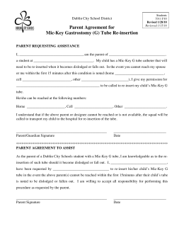 Parent Agreement for Mic-Key Gastrostomy (G) Tube Re-insertion