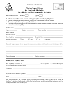 Waiver/Appeal Form for Academic Eligibility in Athletics and Extracurricular Activities