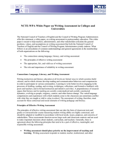 NCTE-WPA White Paper on Writing Assessment in Colleges and Universities