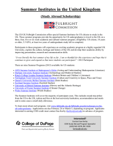 Summer Institutes in the United Kingdom  (Study Abroad Scholarship)