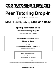 Peer Tutoring Drop-In MATH 0460, 0470, 0481 and 0482 Spring Semester 2016