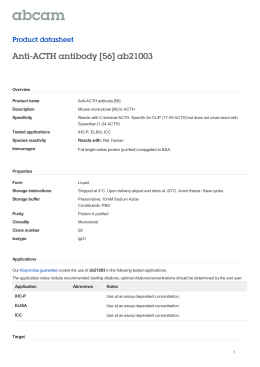 Anti-ACTH antibody [56] ab21003 Product datasheet Overview Product name