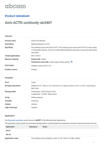 Anti-ACTH antibody ab2407 Product datasheet Overview Product name