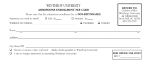 Winthrop University Admissions EnrollmEnt FEE CArd