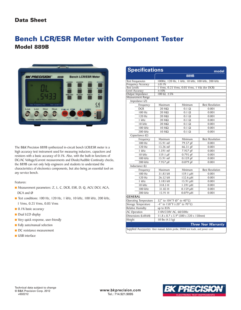 bench lcr esr meter with component tester data sheet model 889bBk Precision 889b Synthesized Incircuit Lcr Esr Meter With Component #6