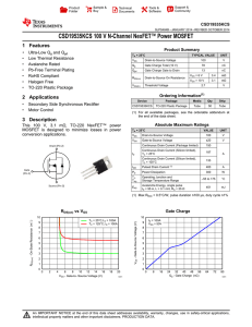 CSD19535KCS 100 V N-Channel NexFET™ Power MOSFET 1 Features CSD19535KCS Product Summary