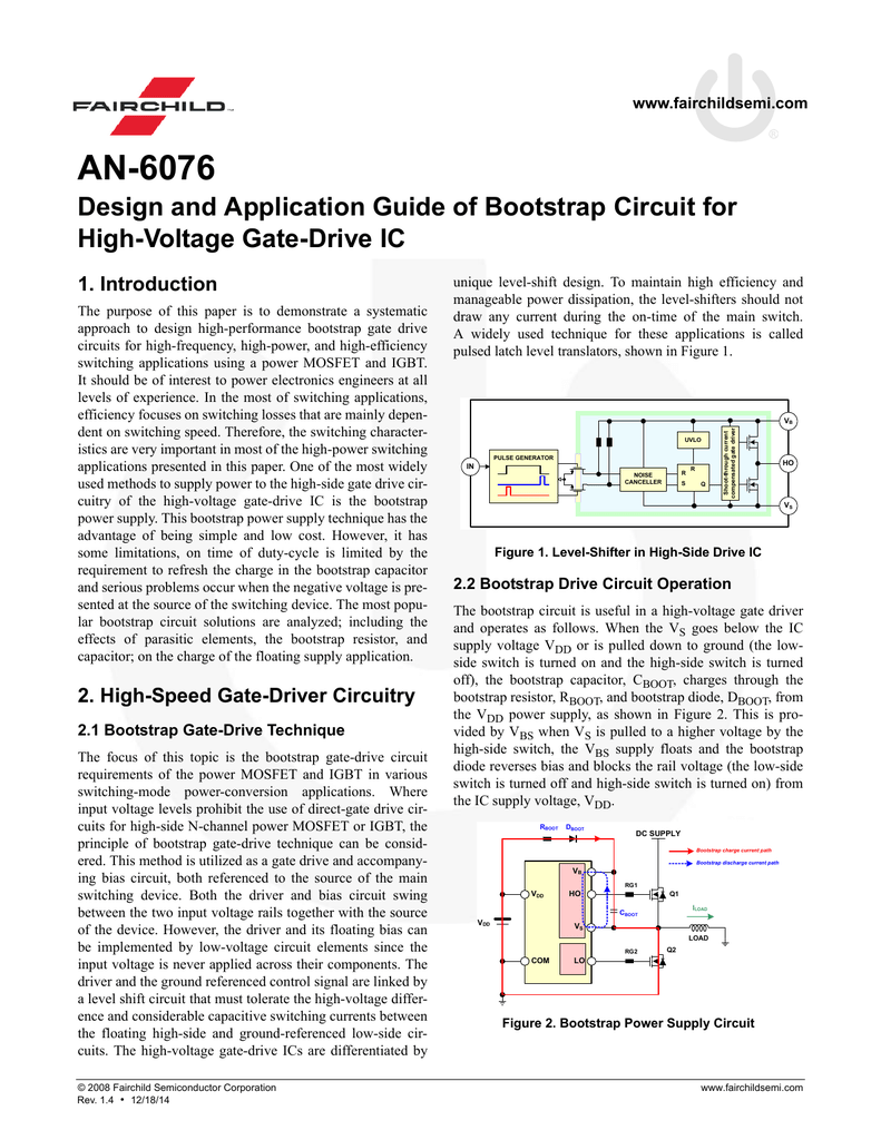 An 6076 Design And Application Guide Of Bootstrap Circuit For High 600 V Three Phase Gate Driver Ic Voltage Drive