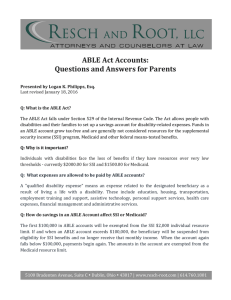 ABLE	Act	Accounts: Questions	and	Answers	for	Parents
