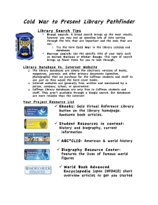 Cold War to Present Library Pathfinder Library Search Tips