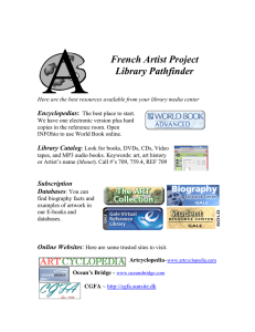 French Artist Project Library Pathfinder Encyclopedias