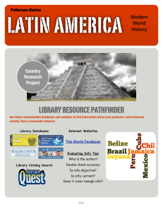 LATIN AMERICA LIBRARY RESOURCE PATHFINDER Modern World