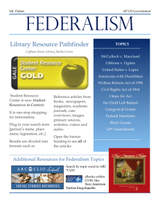 FEDERALISM Library Resource Pathfinder