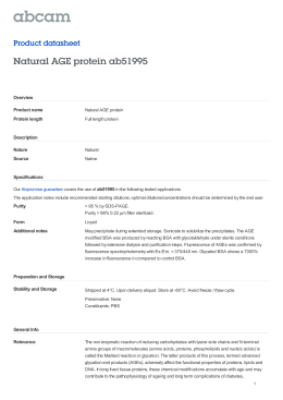 Natural AGE protein ab51995 Product datasheet Overview Product name