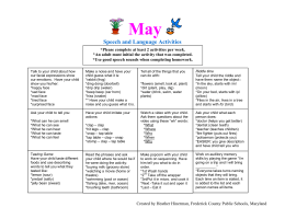 May Speech and Language Activities