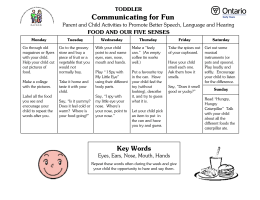 Communicating for Fun  TODDLER FOOD AND OUR FIVE SENSES