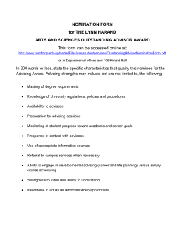 NOMINATION FORM for THE LYNN HARAND ARTS AND SCIENCES OUTSTANDING ADVISOR AWARD