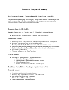 Tentative Program Itinerary Pre-Departure Sessions:  Conducted monthly, from January-May 2014