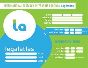 INTERNATIONAL RESEARCH INTERNSHIP PROGRAM Application INTERNSHIP AVAILABILITY