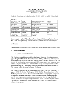 WINTHROP UNIVERSITY ACADEMIC COUNCIL MINUTES September 14, 2001
