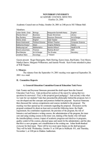 WINTHROP UNIVERSITY ACADEMIC COUNCIL MINUTES October 26, 2001