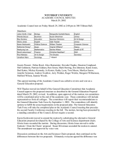 WINTHROP UNIVERSITY ACADEMIC COUNCIL MINUTES March 29, 2002