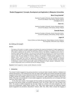 Student Engagement: Concepts, Development and Application in Malaysian Universities
