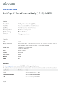 Anti-Thyroid Peroxidase antibody [1.B.10] ab31829 Product datasheet Overview Product name