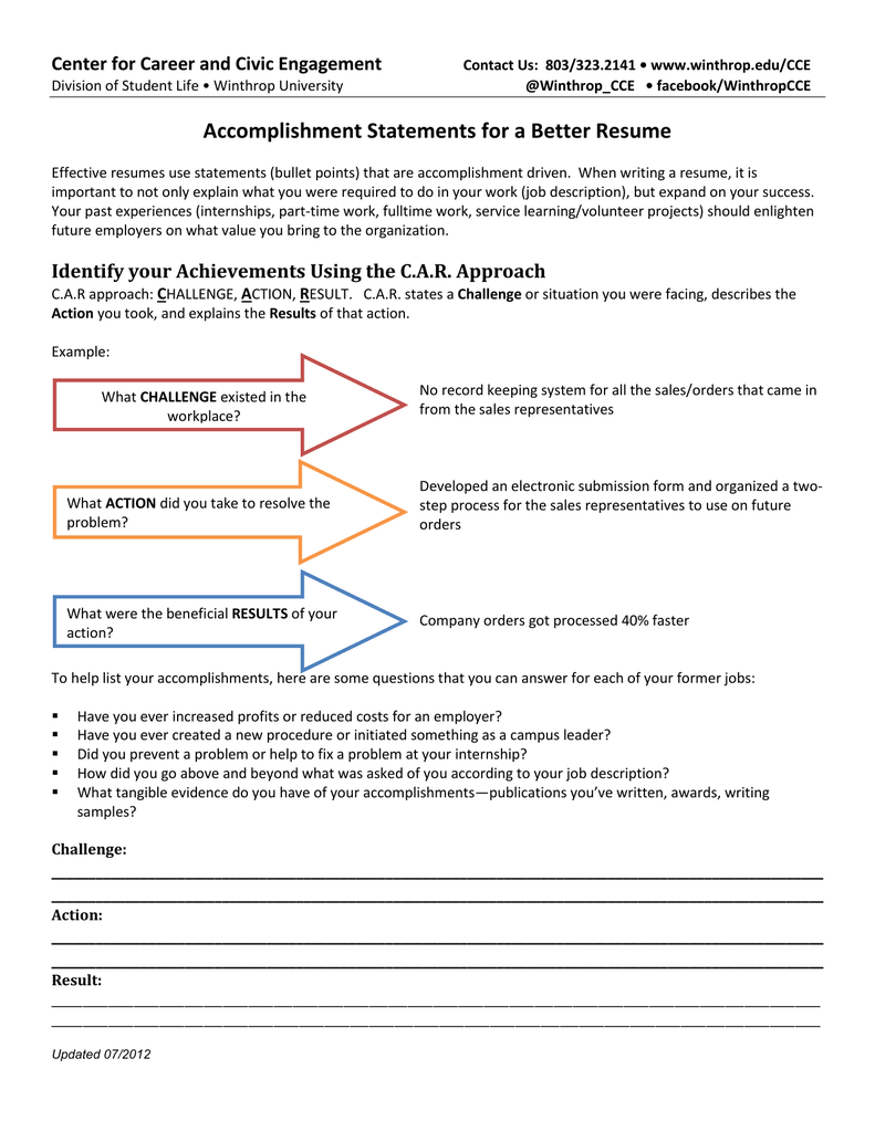 Accomplishment Statements For A Better Resume