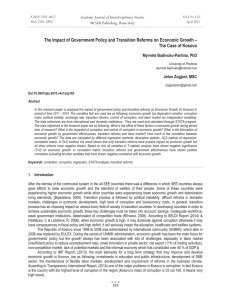 The Impact of Government Policy and Transition Reforms on Economic... The Case of Kosovo Academic Journal of Interdisciplinary Studies MCSER Publishing, Rome-Italy