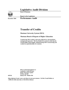 Legislative Audit Division Transfer of Credits Performance Audit Montana University System (MUS)