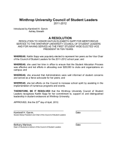 Winthrop University Council of Student Leaders A RESOLUTION 2011-2012