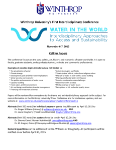 Winthrop University's First Interdisciplinary Conference Call for Papers November 6-7, 2015