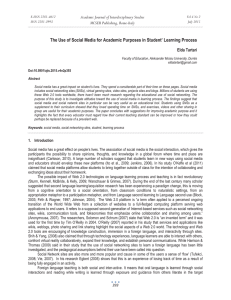 The Use of Social Media for Academic Purposes in Student'... Academic Journal of Interdisciplinary Studies MCSER Publishing, Rome-Italy Elda Tartari
