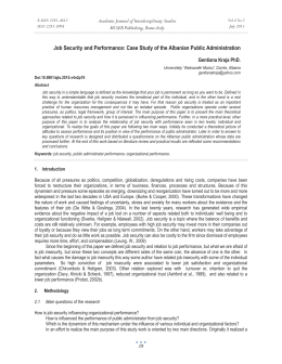Job Security and Performance: Case Study of the Albanian Public... Academic Journal of Interdisciplinary Studies MCSER Publishing, Rome-Italy Gentiana Kraja PhD.