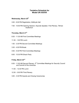 Tentative Schedule for Model UN XXXVII