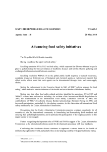 Advancing food safety initiatives  SIXTY-THIRD WORLD HEALTH ASSEMBLY WHA63.3