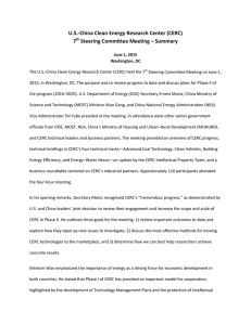 U.S.-China Clean Energy Research Center (CERC) 7 Steering Committee Meeting – Summary