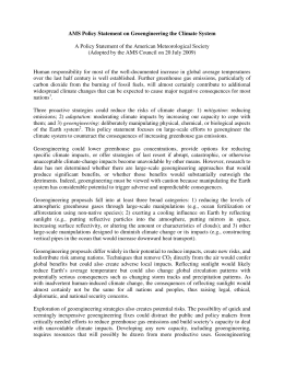 AMS Policy Statement on Geoengineering the Climate System