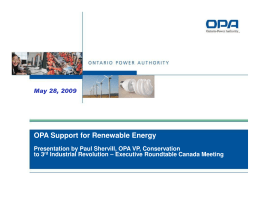 OPA Support for Renewable Energy