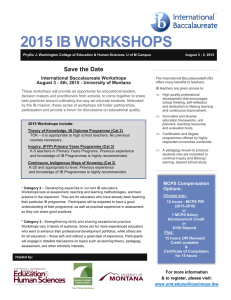 2015 IB WORKSHOPS Save the Date International Baccalaureate Workshops