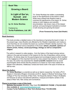 Growing a Beard: In Light of Qur'an, Sunnah   and Book Title: